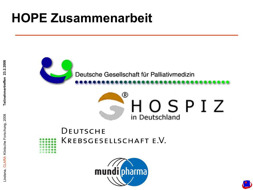 Lindena, CLARA Klinische Forschung, 2008Teilnehmertreffen 23.2.2008 HOPE Zusammenarbeit