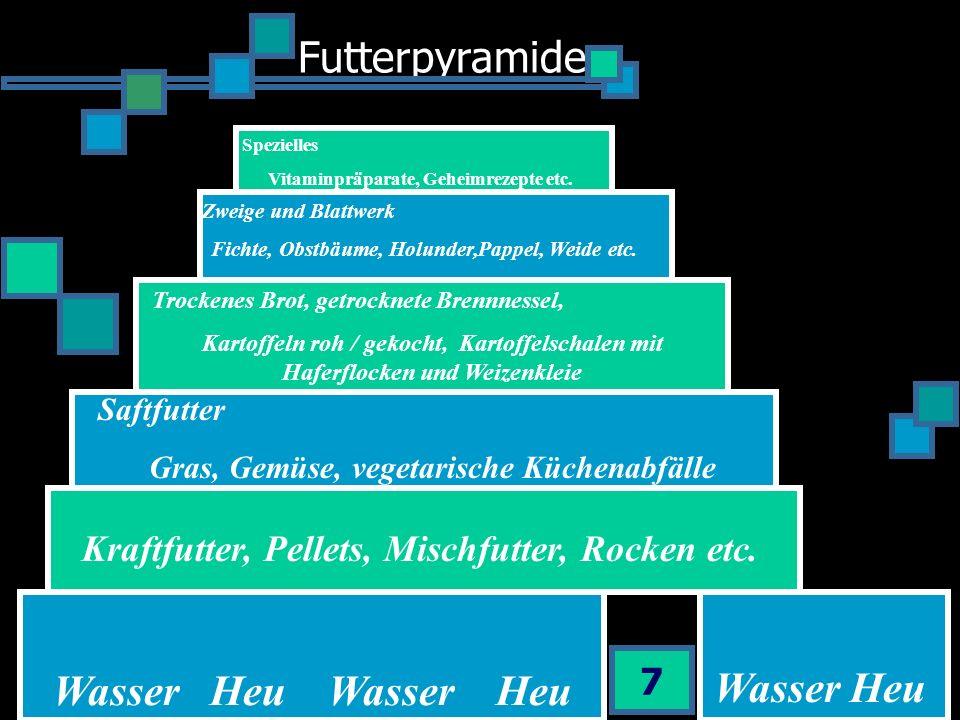 Futterpyramide 7 Spezielles Vitaminpräparate, Geheimrezepte etc. Zweige und Blattwerk Fichte, Obstbäume, Holunder,Pappel, Weide etc. Trockenes Brot, g