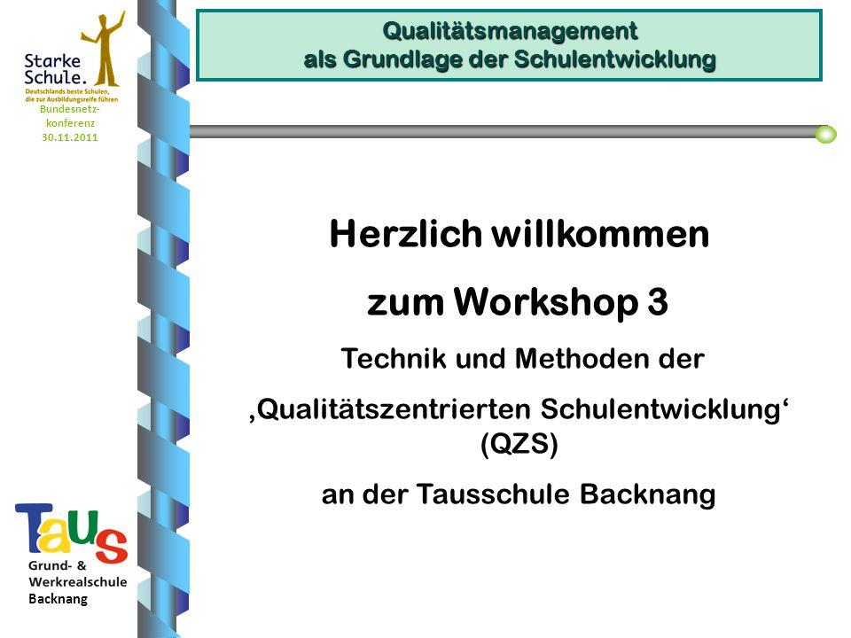 Bundesnetz- konferenz 30.11.2011 Backnang Qualitätsmanagement als Grundlage der Schulentwicklung Herzlich willkommen zum Workshop 3 Technik und Method