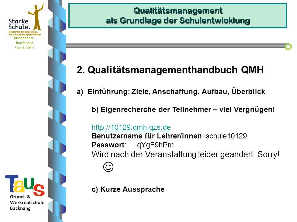 Bundesnetz- konferenz 30.11.2011 Backnang Qualitätsmanagement als Grundlage der Schulentwicklung a) Einführung: Ziele, Anschaffung, Aufbau, Überblick b) Feedback der TN http://www.qzs-bm.dehttp://www.qzs-bm.de Über ein Sammelpasswort an einer Befragung teilnehmen: Gruppe 1: 4YOAhk Gruppe 2: OQVZb8 Gruppe 3: hnovA7 c) Aussprache zu den Ergebnissen des Feedbacks 3.