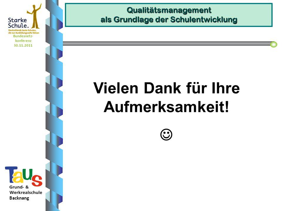Bundesnetz- konferenz 30.11.2011 Backnang Qualitätsmanagement als Grundlage der Schulentwicklung Vielen Dank für Ihre Aufmerksamkeit!