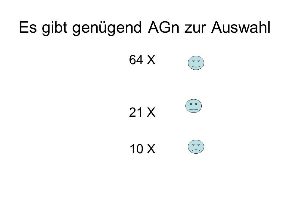 Es gibt genügend AGn zur Auswahl 64 X 21 X 10 X