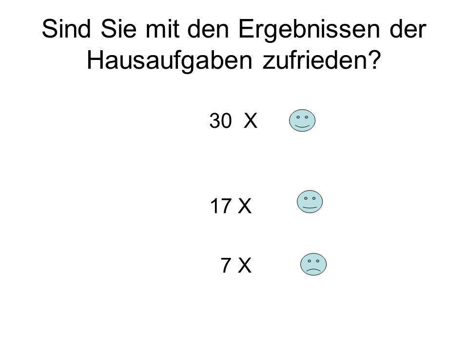 Sind Sie mit den Ergebnissen der Hausaufgaben zufrieden? 30 X 17 X 7 X