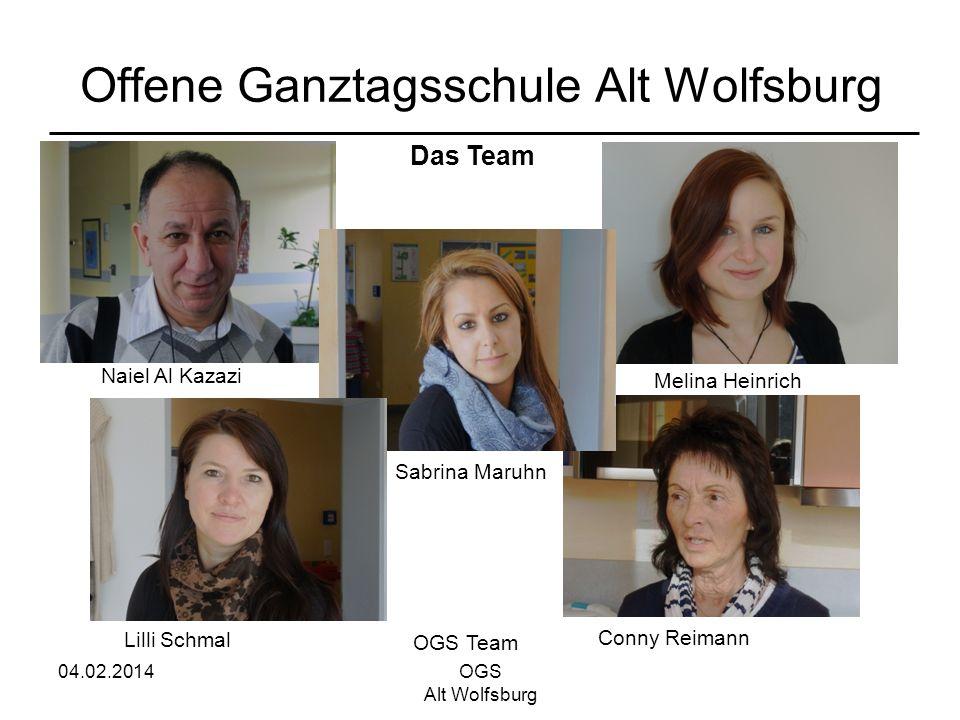 04.02.2014OGS Alt Wolfsburg Offene Ganztagsschule Alt Wolfsburg OGS Team Naiel Al Kazazi Lilli Schmal Sabrina Maruhn Conny Reimann Melina Heinrich Das