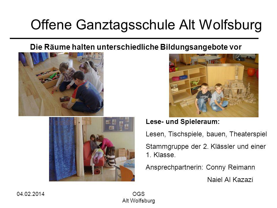 04.02.2014OGS Alt Wolfsburg Offene Ganztagsschule Alt Wolfsburg Die Räume halten unterschiedliche Bildungsangebote vor Lese- und Spieleraum: Lesen, Ti