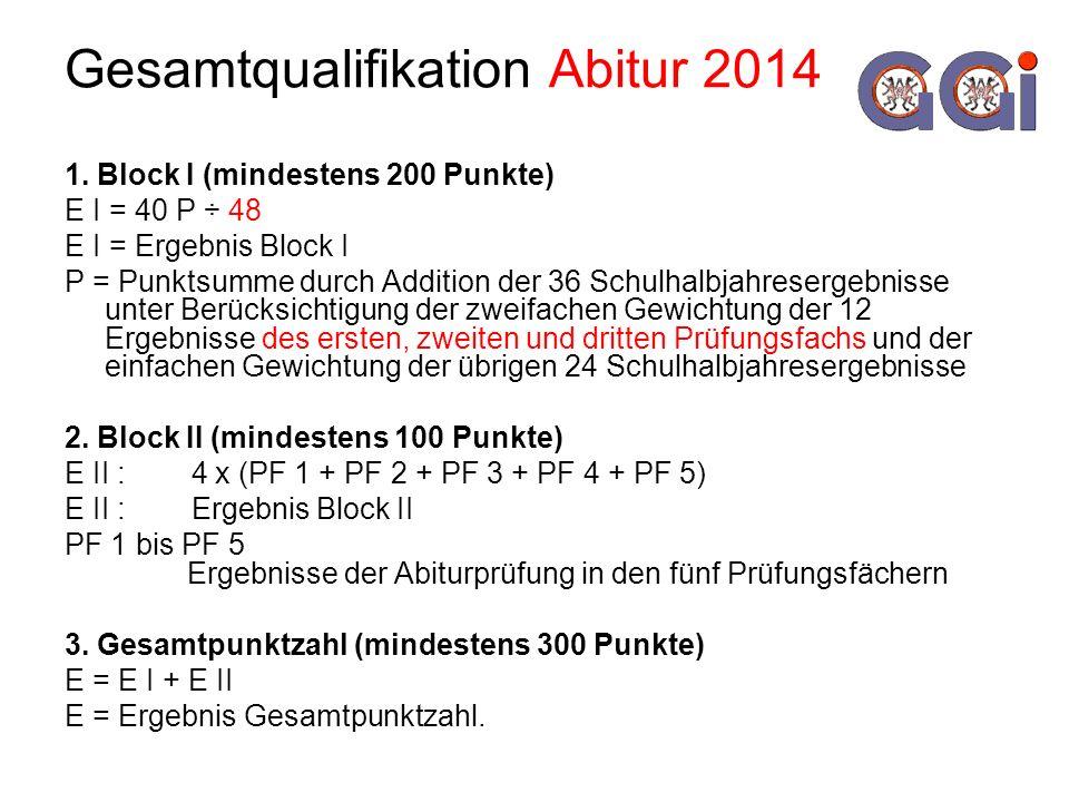 Gesamtqualifikation Abitur 2014 1. Block I (mindestens 200 Punkte) E I = 40 P ÷ 48 E I = Ergebnis Block I P = Punktsumme durch Addition der 36 Schulha
