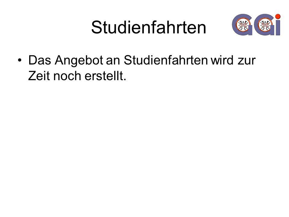 Studienfahrten Das Angebot an Studienfahrten wird zur Zeit noch erstellt.