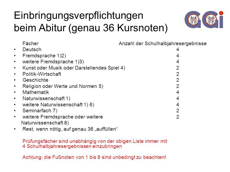 Einbringungsverpflichtungen beim Abitur (genau 36 Kursnoten) Fächer Anzahl der Schulhalbjahresergebnisse Deutsch 4 Fremdsprache 1)2) 4 weitere Fremdsp