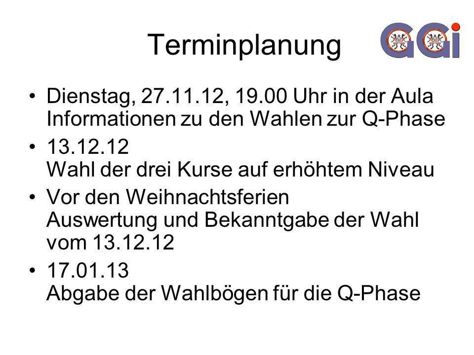 Terminplanung Dienstag, 27.11.12, 19.00 Uhr in der Aula Informationen zu den Wahlen zur Q-Phase 13.12.12 Wahl der drei Kurse auf erhöhtem Niveau Vor den Weihnachtsferien Auswertung und Bekanntgabe der Wahl vom 13.12.12 17.01.13 Abgabe der Wahlbögen für die Q-Phase