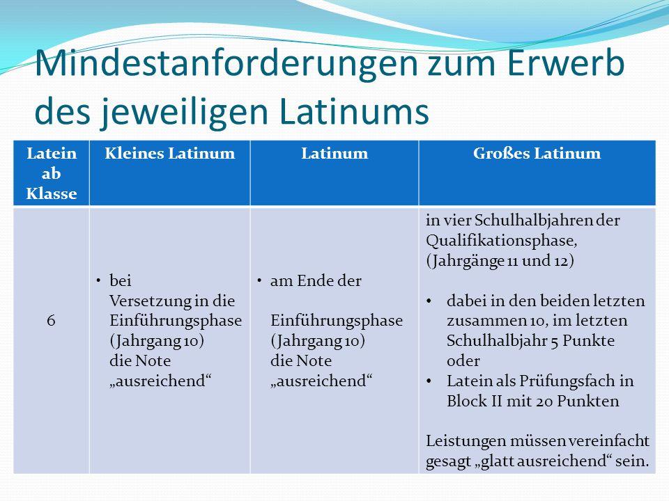 Mindestanforderungen zum Erwerb des jeweiligen Latinums Latein ab Klasse Kleines LatinumLatinumGroßes Latinum 6 bei Versetzung in die Einführungsphase