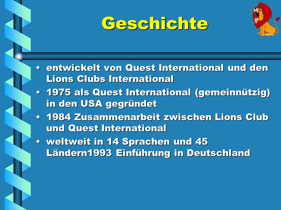 Geschichte entwickelt von Quest International und den Lions Clubs Internationalentwickelt von Quest International und den Lions Clubs International 19