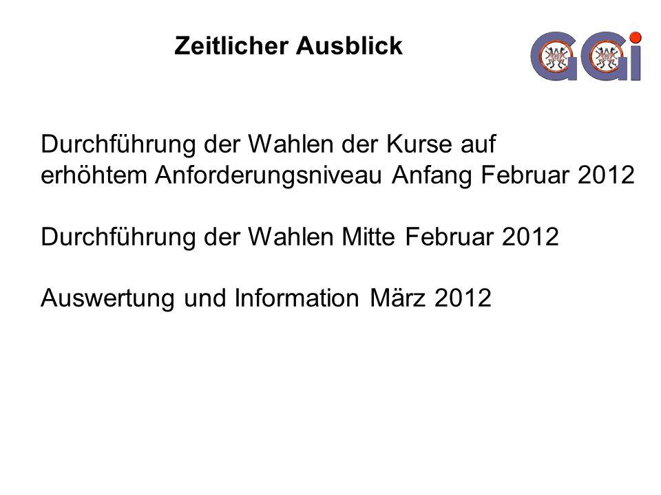 Zeitlicher Ausblick Durchführung der Wahlen der Kurse auf erhöhtem Anforderungsniveau Anfang Februar 2012 Durchführung der Wahlen Mitte Februar 2012 A