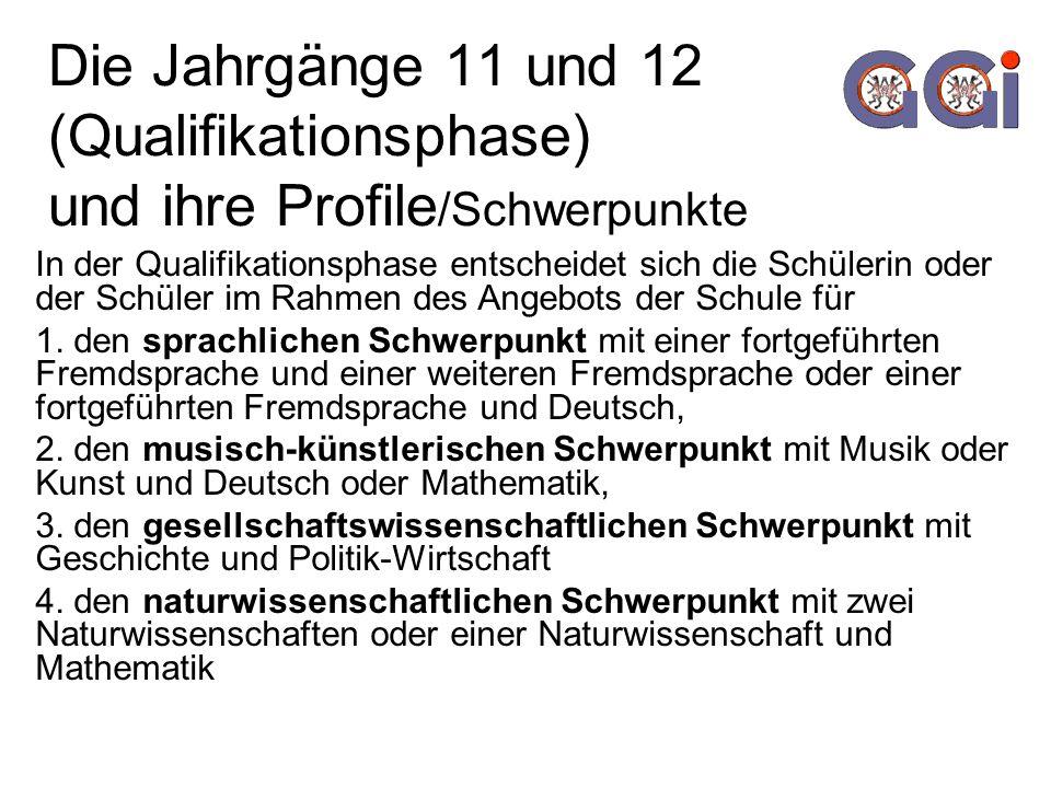 Die Jahrgänge 11 und 12 (Qualifikationsphase) und ihre Profile /Schwerpunkte In der Qualifikationsphase entscheidet sich die Schülerin oder der Schüler im Rahmen des Angebots der Schule für 1.