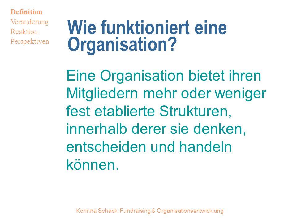 Korinna Schack: Fundraising & Organisationsentwicklung Wie funktioniert eine Organisation.