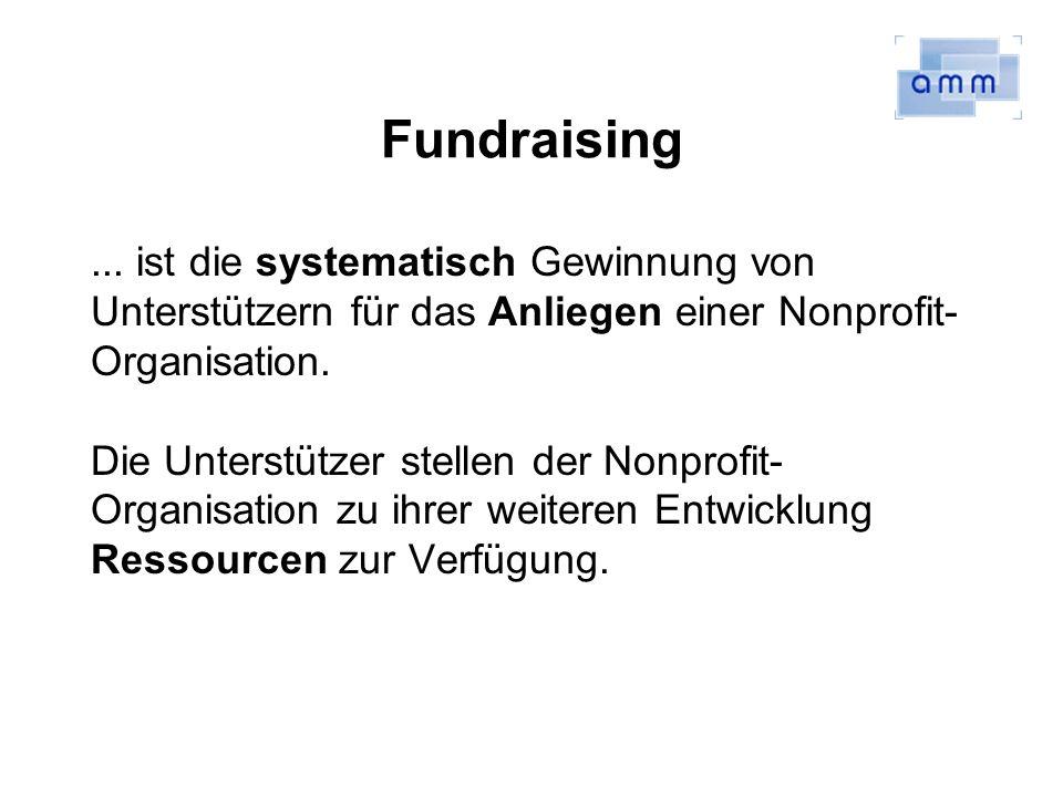 Fundraising... ist die systematisch Gewinnung von Unterstützern für das Anliegen einer Nonprofit- Organisation. Die Unterstützer stellen der Nonprofit