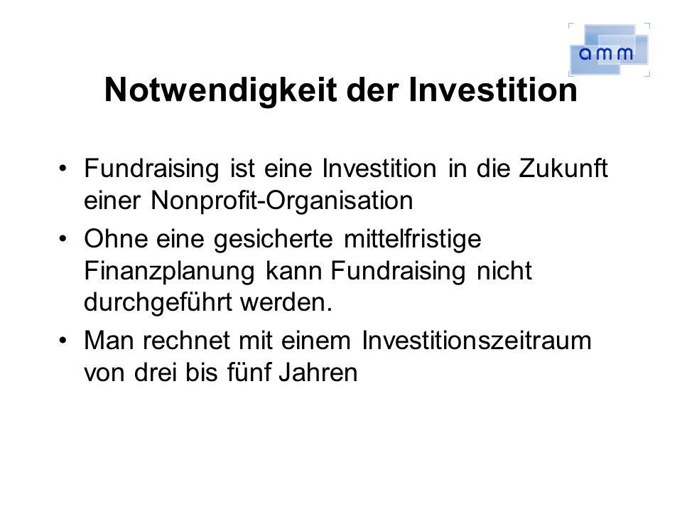 Notwendigkeit der Investition Fundraising ist eine Investition in die Zukunft einer Nonprofit-Organisation Ohne eine gesicherte mittelfristige Finanzplanung kann Fundraising nicht durchgeführt werden.