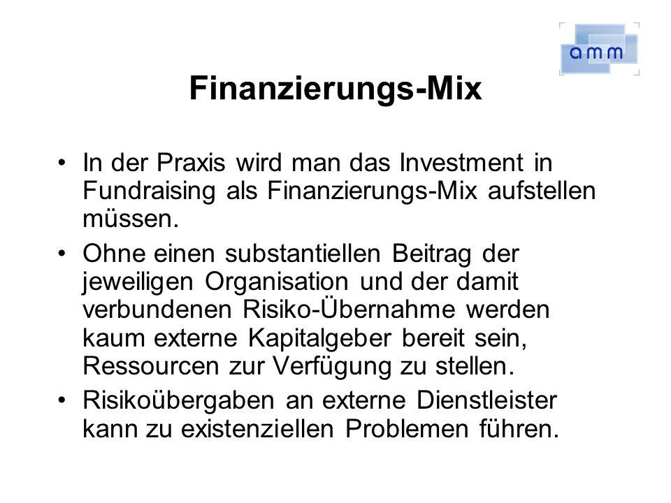 Finanzierungs-Mix In der Praxis wird man das Investment in Fundraising als Finanzierungs-Mix aufstellen müssen. Ohne einen substantiellen Beitrag der