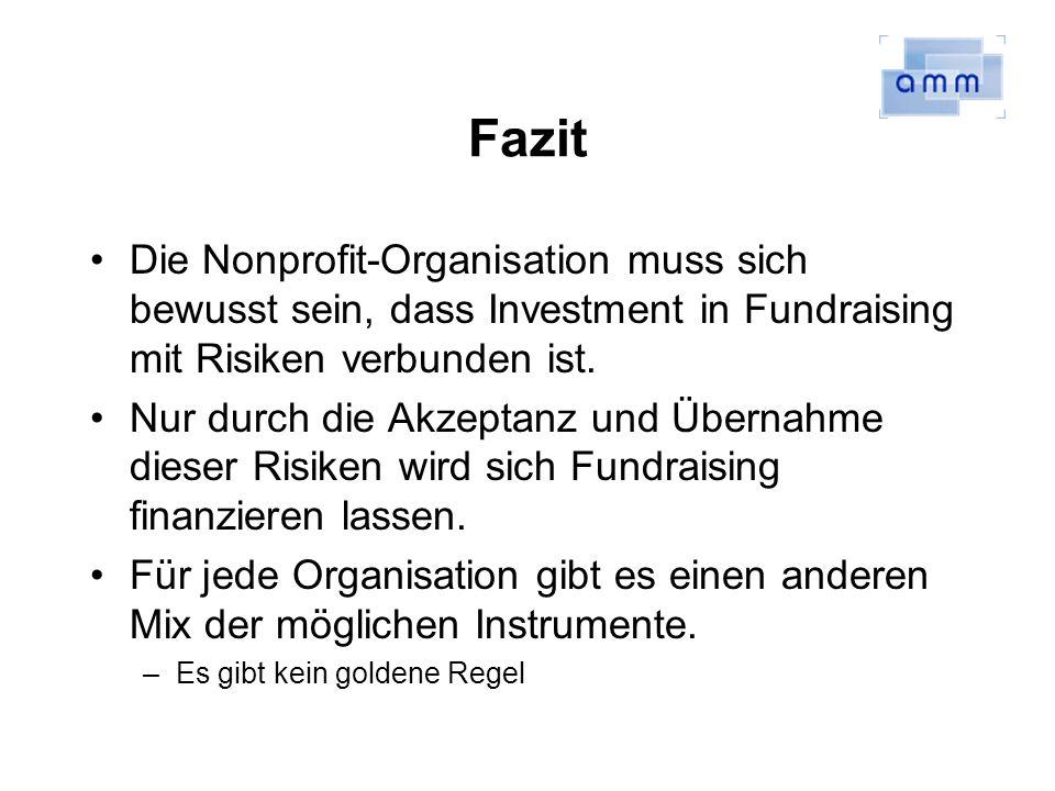 Fazit Die Nonprofit-Organisation muss sich bewusst sein, dass Investment in Fundraising mit Risiken verbunden ist.