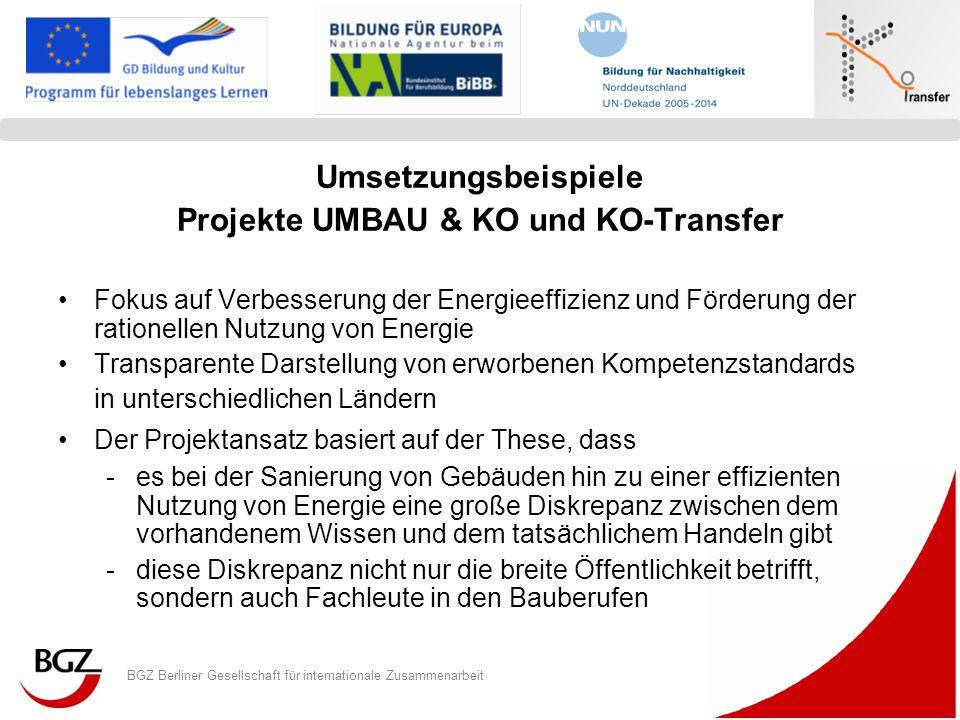 BGZ Berliner Gesellschaft für internationale Zusammenarbeit Logo Programm/ Projekt Umsetzungsbeispiele Projekte UMBAU & KO und KO-Transfer Fokus auf V