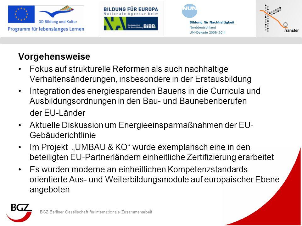 BGZ Berliner Gesellschaft für internationale Zusammenarbeit Logo Programm/ Projekt Vorgehensweise Fokus auf strukturelle Reformen als auch nachhaltige
