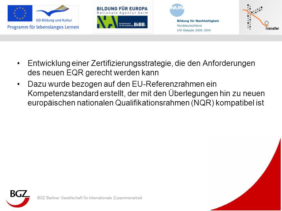 BGZ Berliner Gesellschaft für internationale Zusammenarbeit Logo Programm/ Projekt Entwicklung einer Zertifizierungsstrategie, die den Anforderungen d