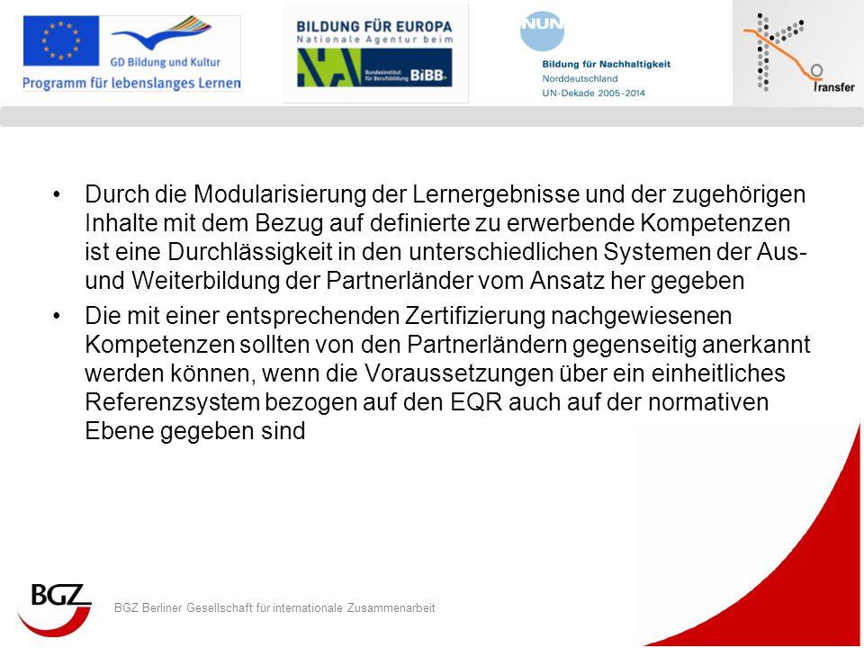 BGZ Berliner Gesellschaft für internationale Zusammenarbeit Logo Programm/ Projekt Durch die Modularisierung der Lernergebnisse und der zugehörigen In