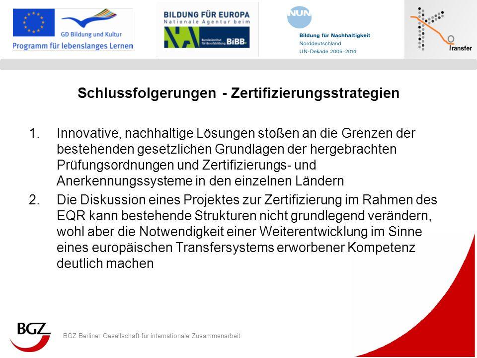 BGZ Berliner Gesellschaft für internationale Zusammenarbeit Logo Programm/ Projekt Schlussfolgerungen - Zertifizierungsstrategien 1.Innovative, nachha