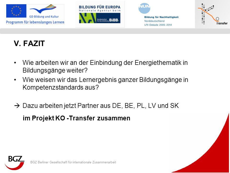 BGZ Berliner Gesellschaft für internationale Zusammenarbeit Logo Programm/ Projekt V. FAZIT Wie arbeiten wir an der Einbindung der Energiethematik in