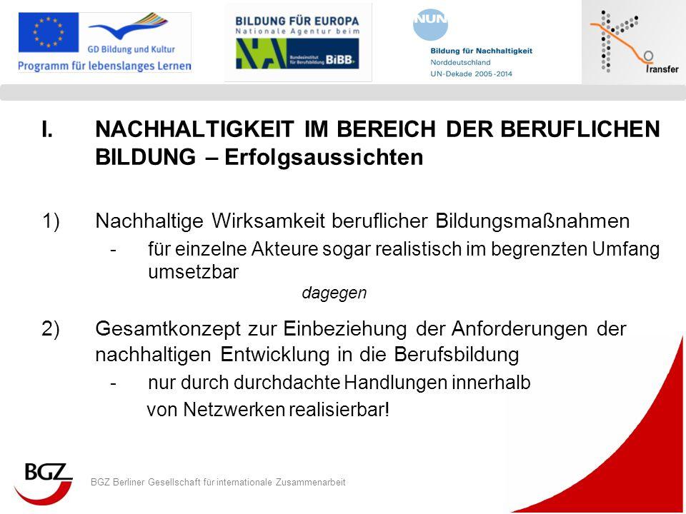 BGZ Berliner Gesellschaft für internationale Zusammenarbeit Logo Programm/ Projekt I.NACHHALTIGKEIT IM BEREICH DER BERUFLICHEN BILDUNG – Erfolgsaussic
