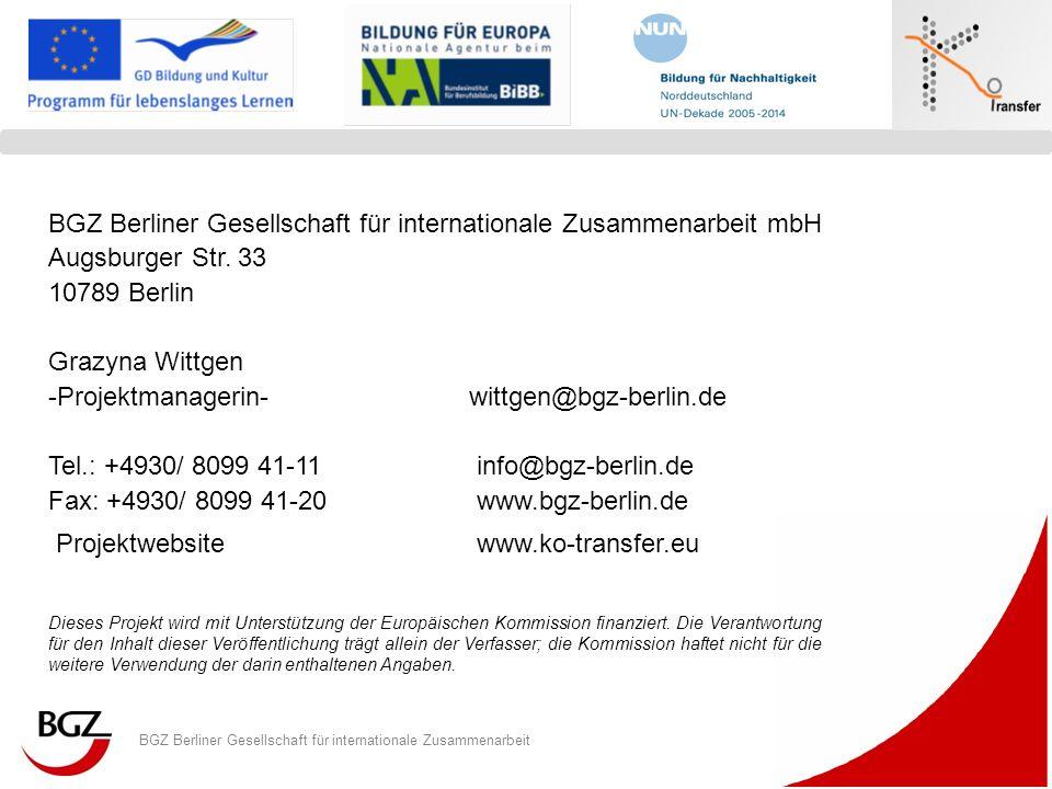 BGZ Berliner Gesellschaft für internationale Zusammenarbeit Logo Programm/ Projekt BGZ Berliner Gesellschaft für internationale Zusammenarbeit mbH Aug