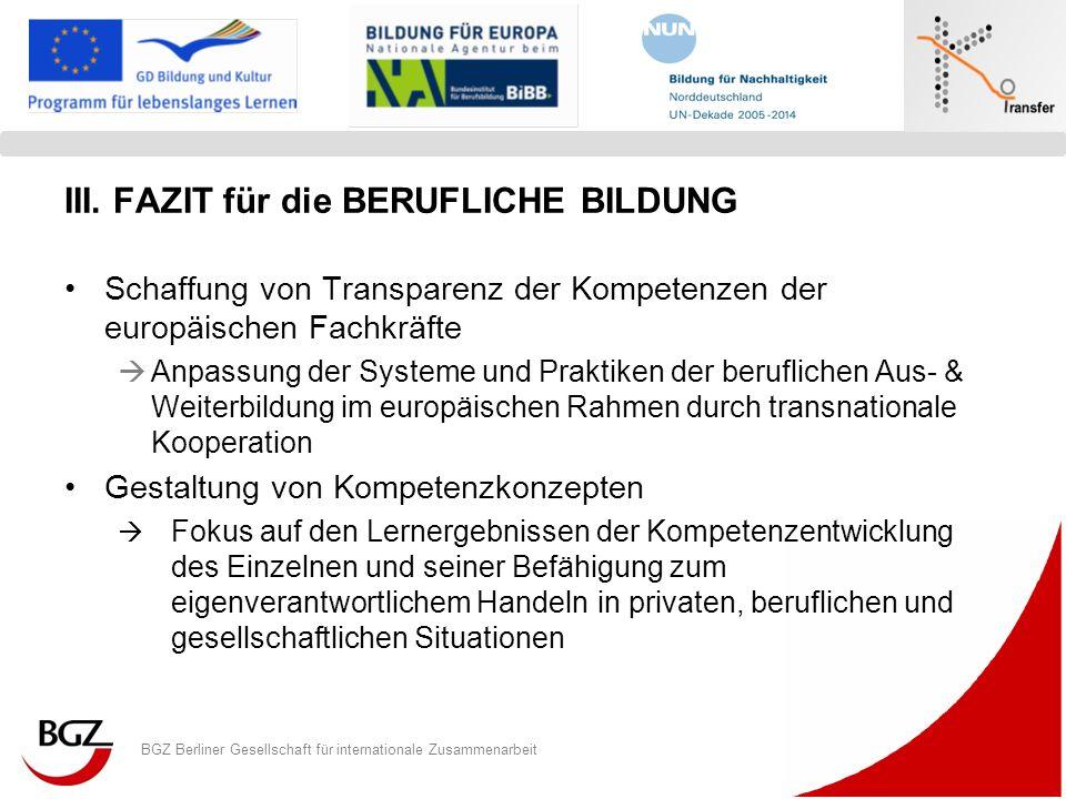 BGZ Berliner Gesellschaft für internationale Zusammenarbeit Logo Programm/ Projekt III. FAZIT für die BERUFLICHE BILDUNG Schaffung von Transparenz der