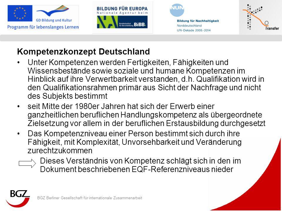BGZ Berliner Gesellschaft für internationale Zusammenarbeit Logo Programm/ Projekt EU-weiter Qualifikationsrahmen für Transparenz Kernelemente 8 Niveaustufen, in die auch berufliche Abschlüsse zukünftig eingeordnet sind Die Stufen 1 - 5 betreffen eine Standardisierung beruflicher Qualifikationen Dem Ansatz liegt ferner eine kompetenzbasierte Aus- und Weiterbildung zugrunde