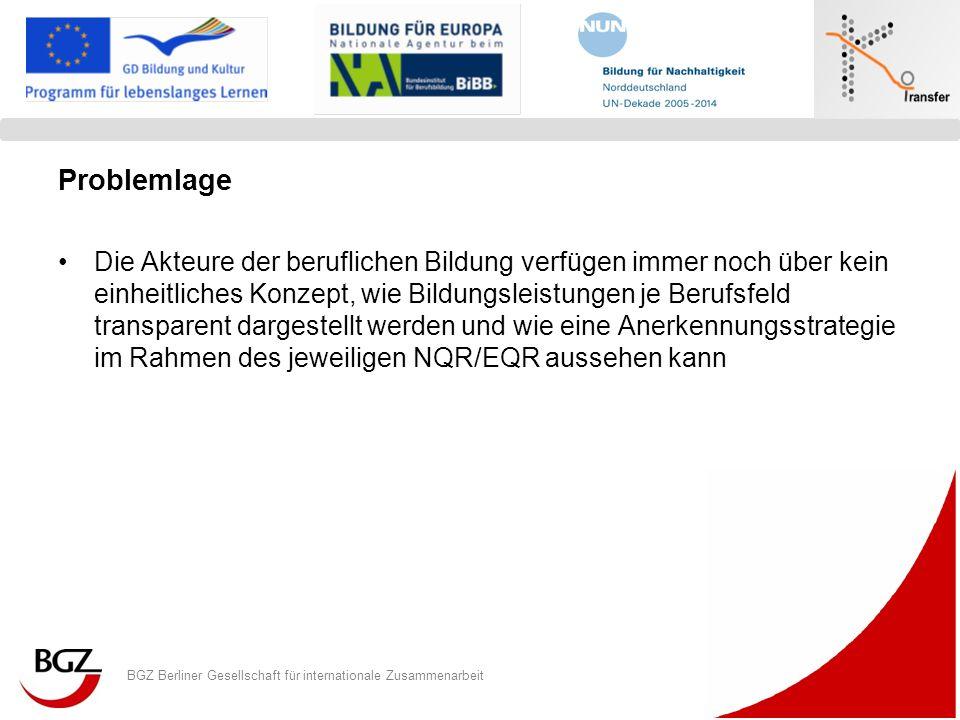 BGZ Berliner Gesellschaft für internationale Zusammenarbeit Logo Programm/ Projekt Problemlage Die Akteure der beruflichen Bildung verfügen immer noch