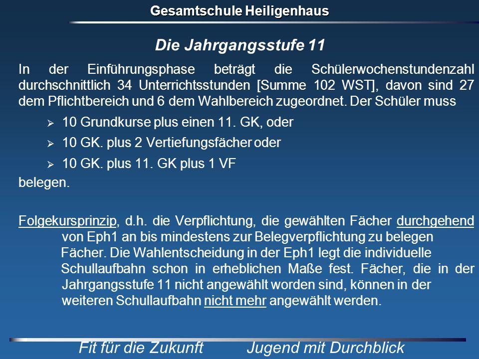 Gesamtschule Heiligenhaus Fit für die Zukunft Jugend mit Durchblick Die Jahrgangsstufe 11 In der Einführungsphase beträgt die Schülerwochenstundenzahl