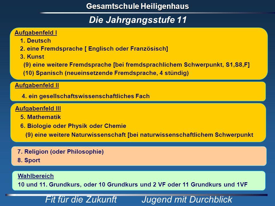 Gesamtschule Heiligenhaus Fit für die Zukunft Jugend mit Durchblick Die Jahrgangsstufe 11 Aufgabenfeld I 1. Deutsch 2. eine Fremdsprache [ Englisch od