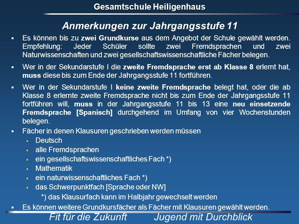 Gesamtschule Heiligenhaus Fit für die Zukunft Jugend mit Durchblick Anmerkungen zur Jahrgangsstufe 11 Es können bis zu zwei Grundkurse aus dem Angebot