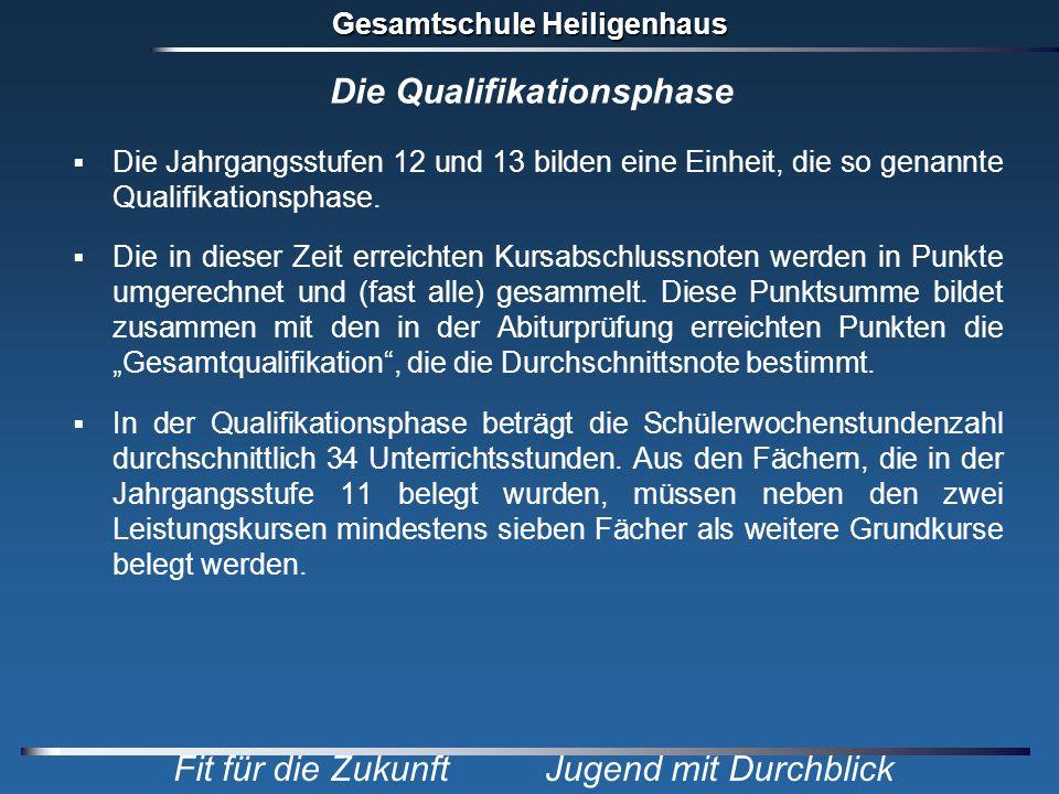 Gesamtschule Heiligenhaus Fit für die Zukunft Jugend mit Durchblick Die Qualifikationsphase Die Jahrgangsstufen 12 und 13 bilden eine Einheit, die so