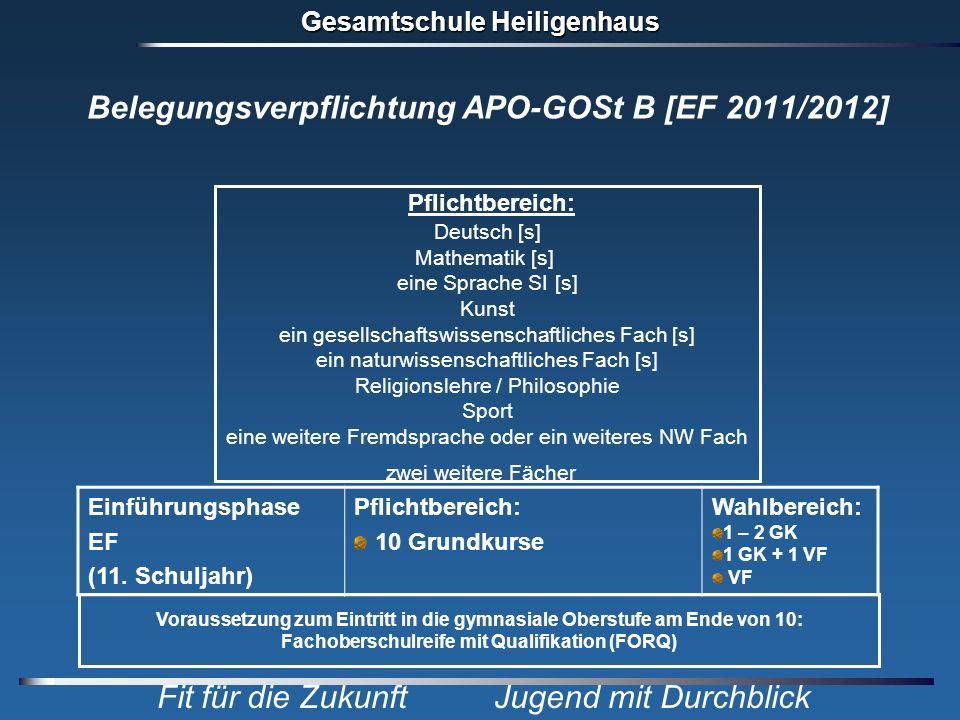 Gesamtschule Heiligenhaus Fit für die Zukunft Jugend mit Durchblick Belegungsverpflichtung APO-GOSt B [EF 2011/2012] Voraussetzung zum Eintritt in die