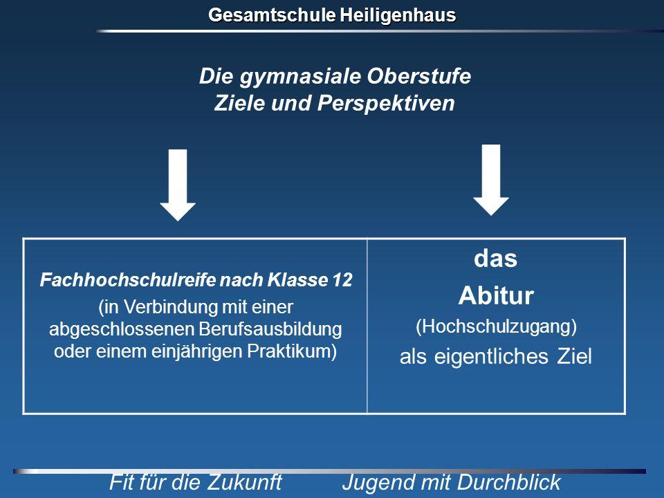 Gesamtschule Heiligenhaus Fit für die Zukunft Jugend mit Durchblick Fachhochschulreife nach Klasse 12 (in Verbindung mit einer abgeschlossenen Berufsa