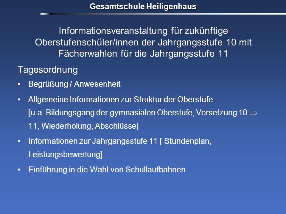 Gesamtschule Heiligenhaus Informationsveranstaltung für zukünftige Oberstufenschüler/innen der Jahrgangsstufe 10 mit Fächerwahlen für die Jahrgangsstu