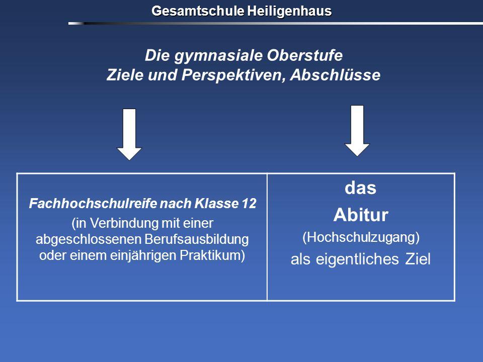 Gesamtschule Heiligenhaus Fachhochschulreife nach Klasse 12 (in Verbindung mit einer abgeschlossenen Berufsausbildung oder einem einjährigen Praktikum