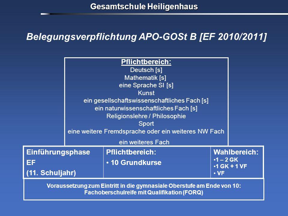Gesamtschule Heiligenhaus Belegungsverpflichtung APO-GOSt B [EF 2010/2011] Voraussetzung zum Eintritt in die gymnasiale Oberstufe am Ende von 10: Fach
