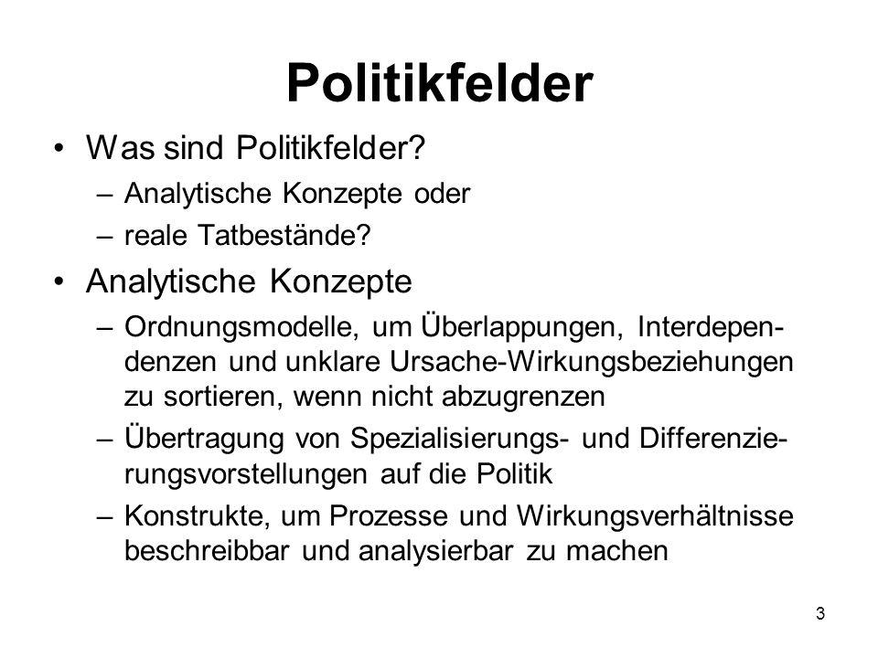 Politikfelder Was sind Politikfelder? –Analytische Konzepte oder –reale Tatbestände? Analytische Konzepte –Ordnungsmodelle, um Überlappungen, Interdep