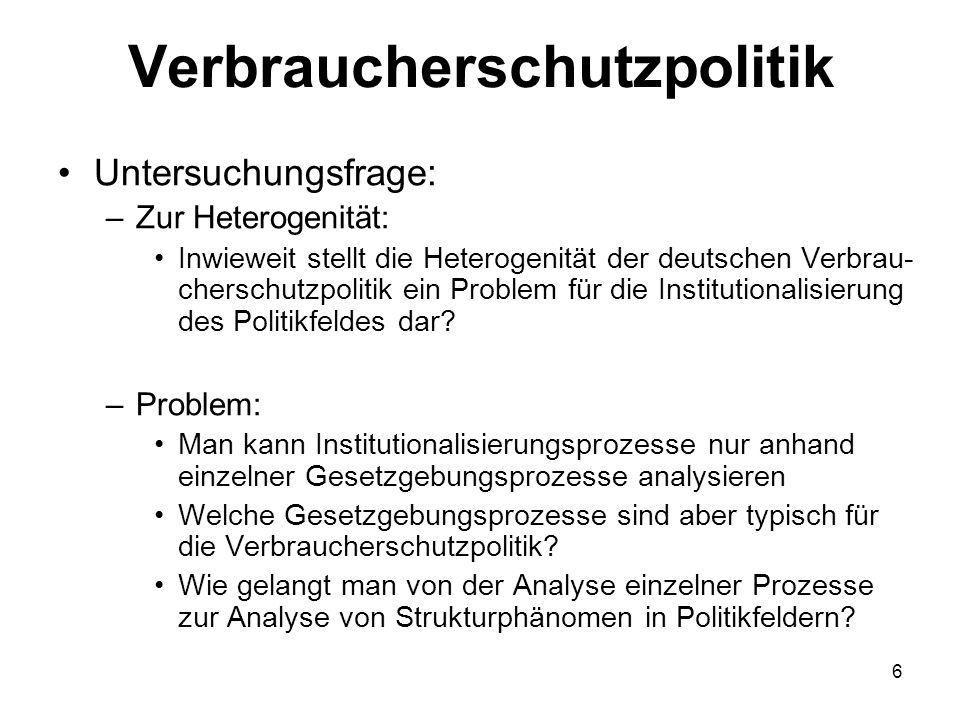 Verbraucherschutzpolitik Untersuchungsfrage: –Zur Heterogenität: Inwieweit stellt die Heterogenität der deutschen Verbrau- cherschutzpolitik ein Probl