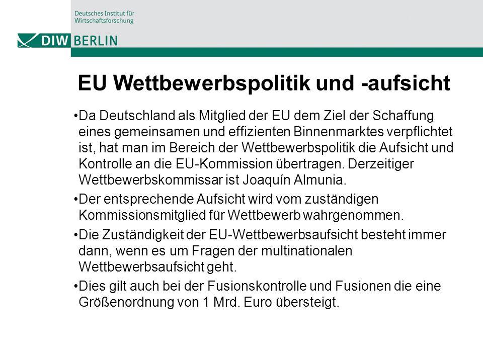 EU Wettbewerbspolitik und -aufsicht Da Deutschland als Mitglied der EU dem Ziel der Schaffung eines gemeinsamen und effizienten Binnenmarktes verpflichtet ist, hat man im Bereich der Wettbewerbspolitik die Aufsicht und Kontrolle an die EU-Kommission übertragen.