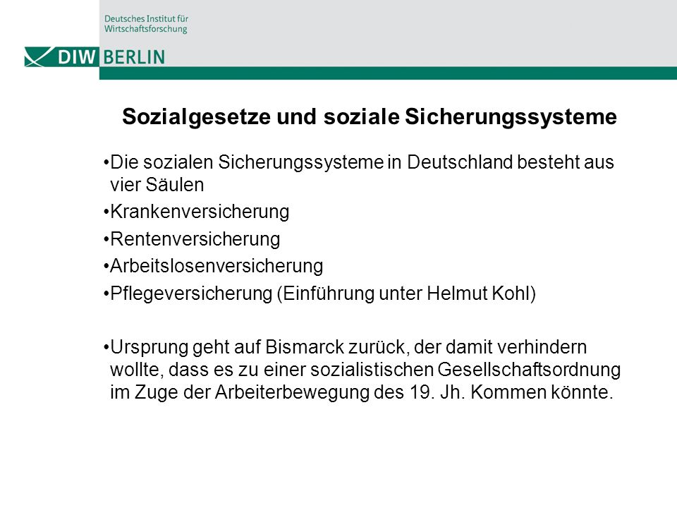 Sozialgesetze und soziale Sicherungssysteme Die sozialen Sicherungssysteme in Deutschland besteht aus vier Säulen Krankenversicherung Rentenversicherung Arbeitslosenversicherung Pflegeversicherung (Einführung unter Helmut Kohl) Ursprung geht auf Bismarck zurück, der damit verhindern wollte, dass es zu einer sozialistischen Gesellschaftsordnung im Zuge der Arbeiterbewegung des 19.