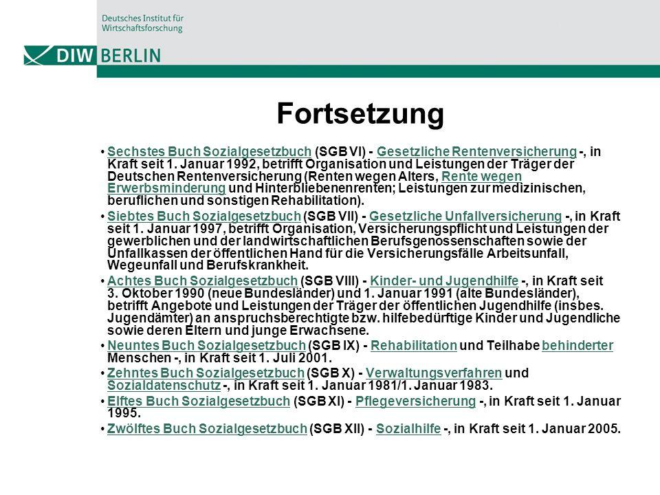 Fortsetzung Sechstes Buch Sozialgesetzbuch (SGB VI) - Gesetzliche Rentenversicherung -, in Kraft seit 1.