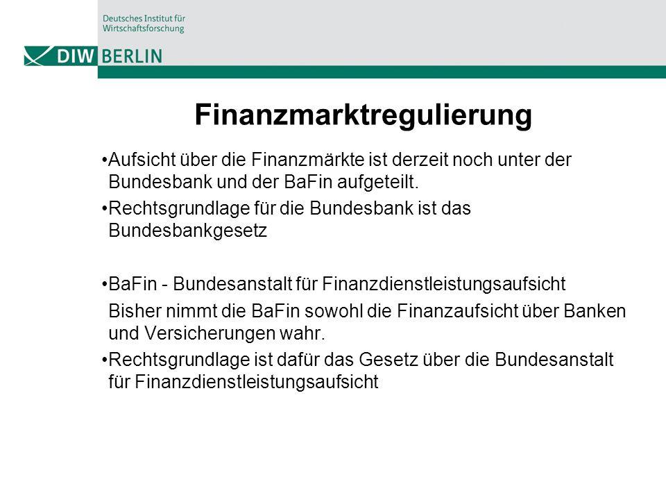 Finanzmarktregulierung Aufsicht über die Finanzmärkte ist derzeit noch unter der Bundesbank und der BaFin aufgeteilt.