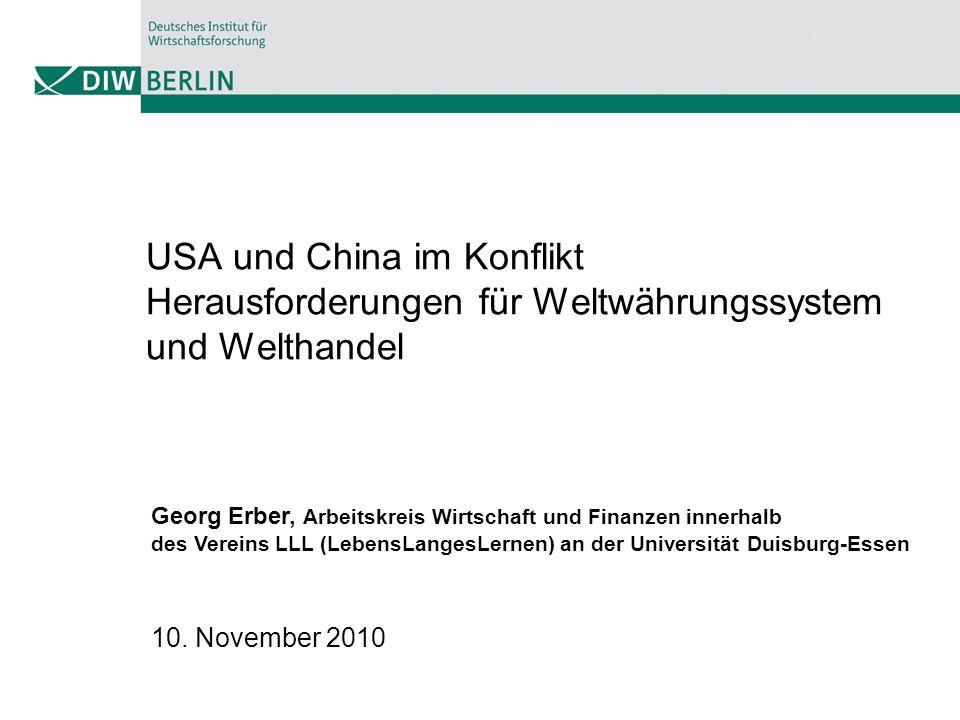 Streit um den Yuan Wechselkurs Ursachen - Exportorientiertes Wachstum und globale Handelsungleichgewichte - Schwächen des Weltwährungssystems - Wechselkursmanipulationen Lösungsansätze - Bilaterale Vereinbarungen (USA und China) - Multilateral Vereinbarungen - G20 - IWF - WTO
