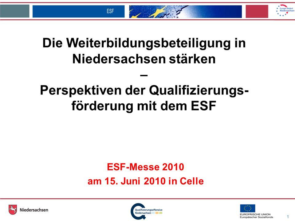 1 Die Weiterbildungsbeteiligung in Niedersachsen stärken – Perspektiven der Qualifizierungs- förderung mit dem ESF ESF-Messe 2010 am 15.